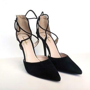 Lulu's Black Dani Suede Lace-Up Pointed Toe Heels